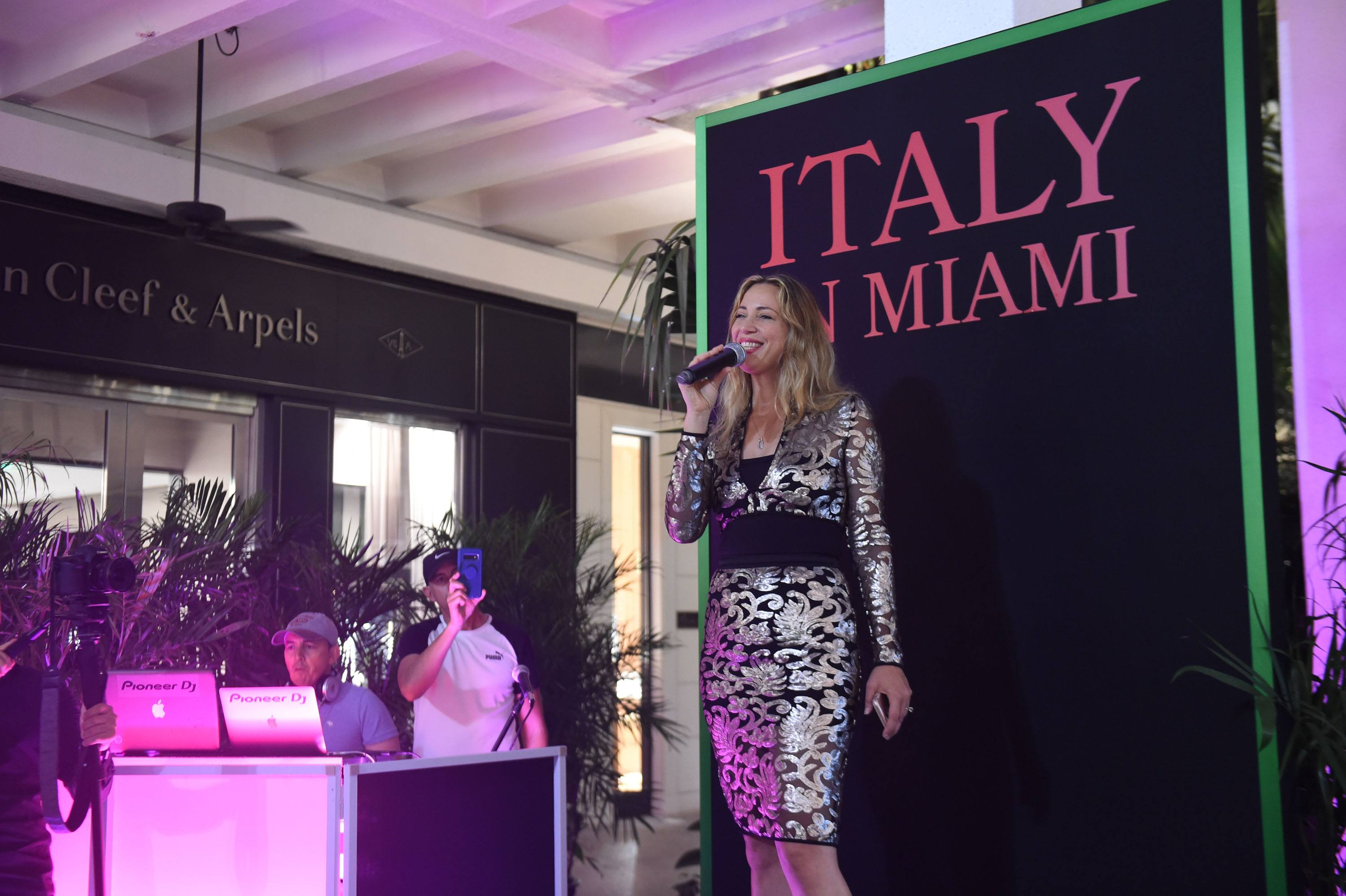 Joanne Togati performing at the Italy in Miami kick-off cocktail reception