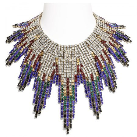 Chanel gold, black, red and blue crystal metal necklace