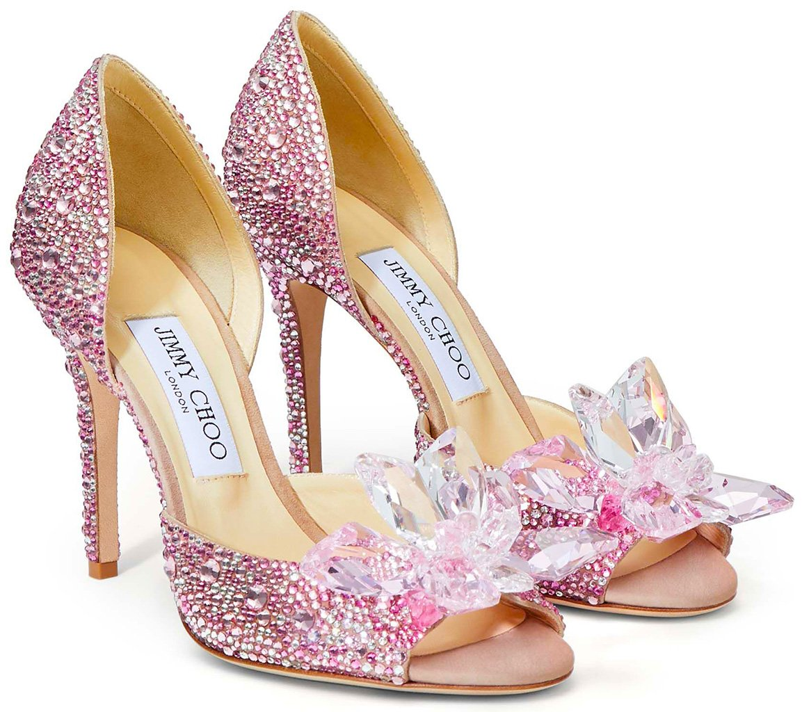 Jimmy Choo Rose Mix Suede and Crystal Covered Open Toe Pumps