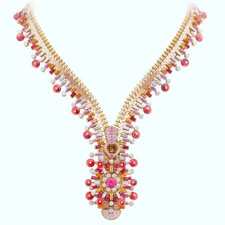 Van Cleef & Arpels Zip Antique Sunflower Rose necklace