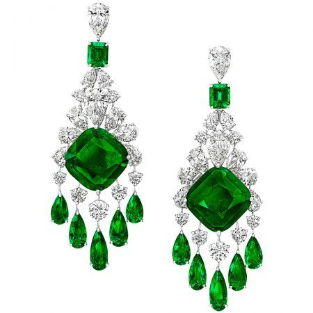 Graff-Emerald and Diamond Earrings