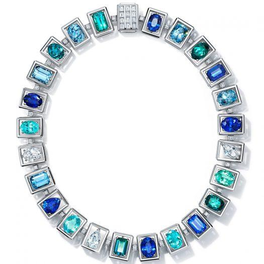 Tiffany & Co.-Necklace in platinum with sapphires from the Tiffany & Co. Blue Book Collection