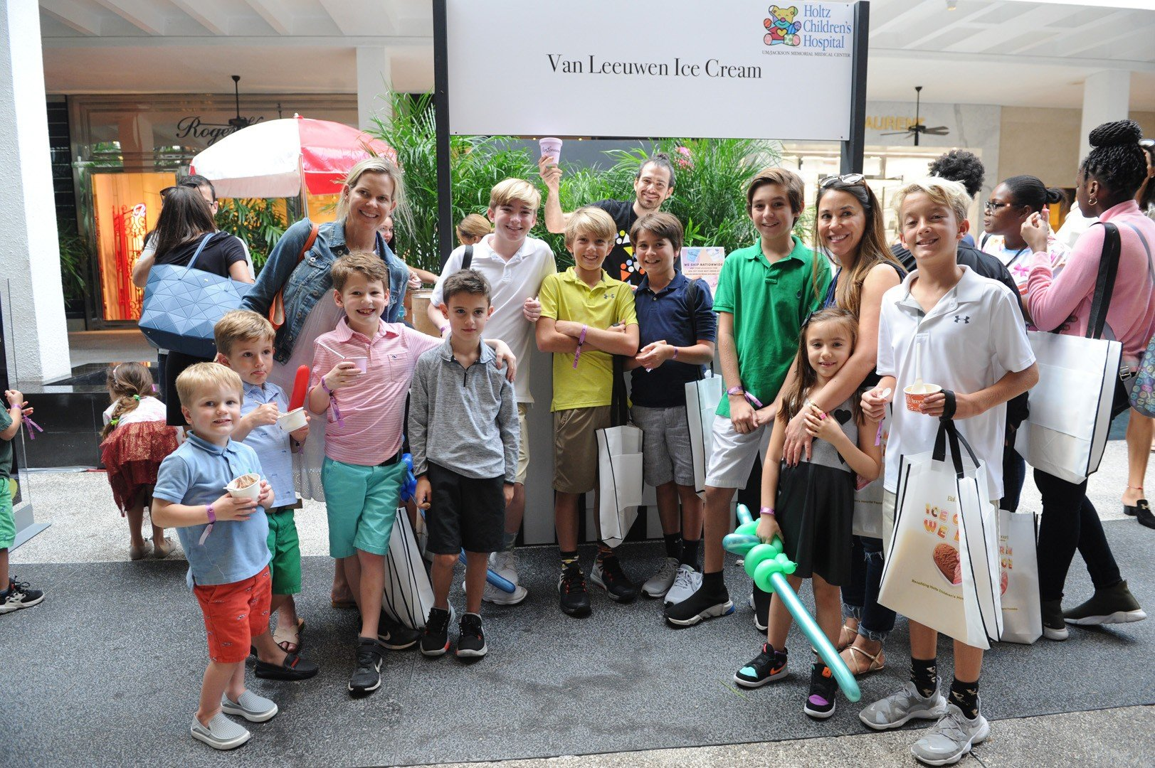 Kristin Lazenby with friends and family and owner Ben Van Leeuwen from Van Leeuwen Ice Cream in Brooklyn, NY