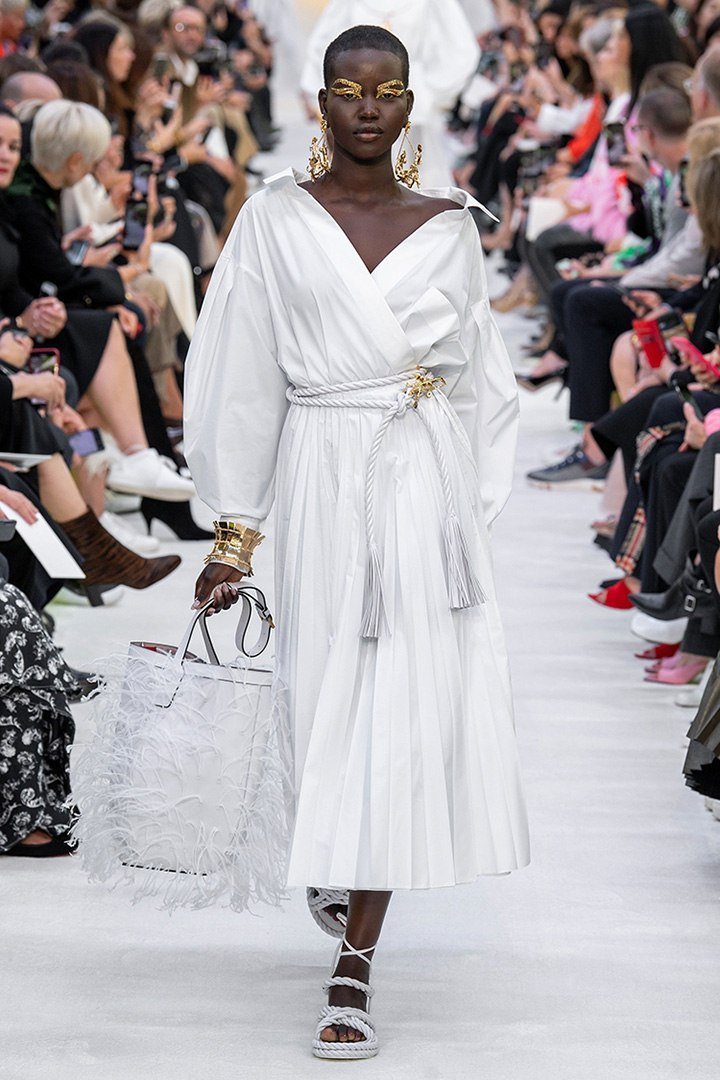 Valentino White Poplin Dress from the Le Blanc capsule collection featured on the SS20 Runway