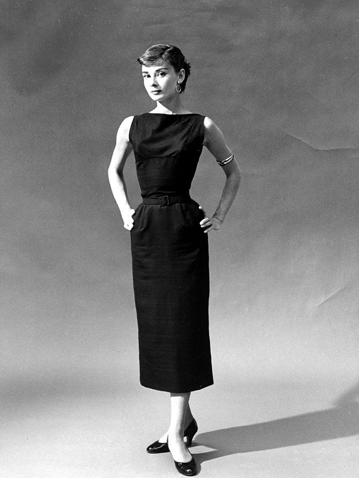 Audrey Hepburn in a black dress. Photo credited to Getty Images/George Karger/Pix Inc./The Life Collection.