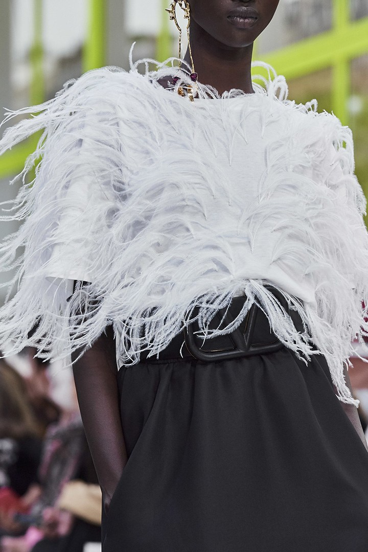 Valentino Le Blanc feather white blouse from the SS20 Runway