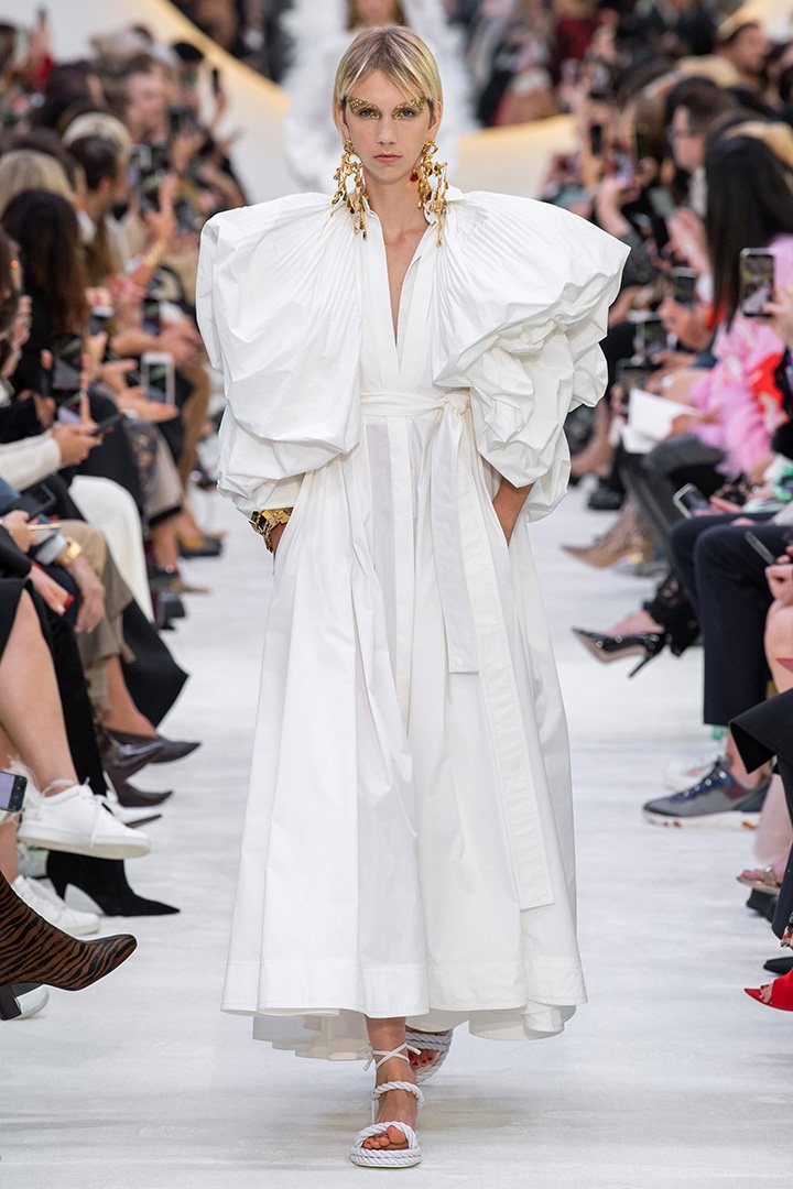 Valentino Poplin Puff-Sleeve Dress from the Le Blanc capsule collection featured on the SS20 Runway