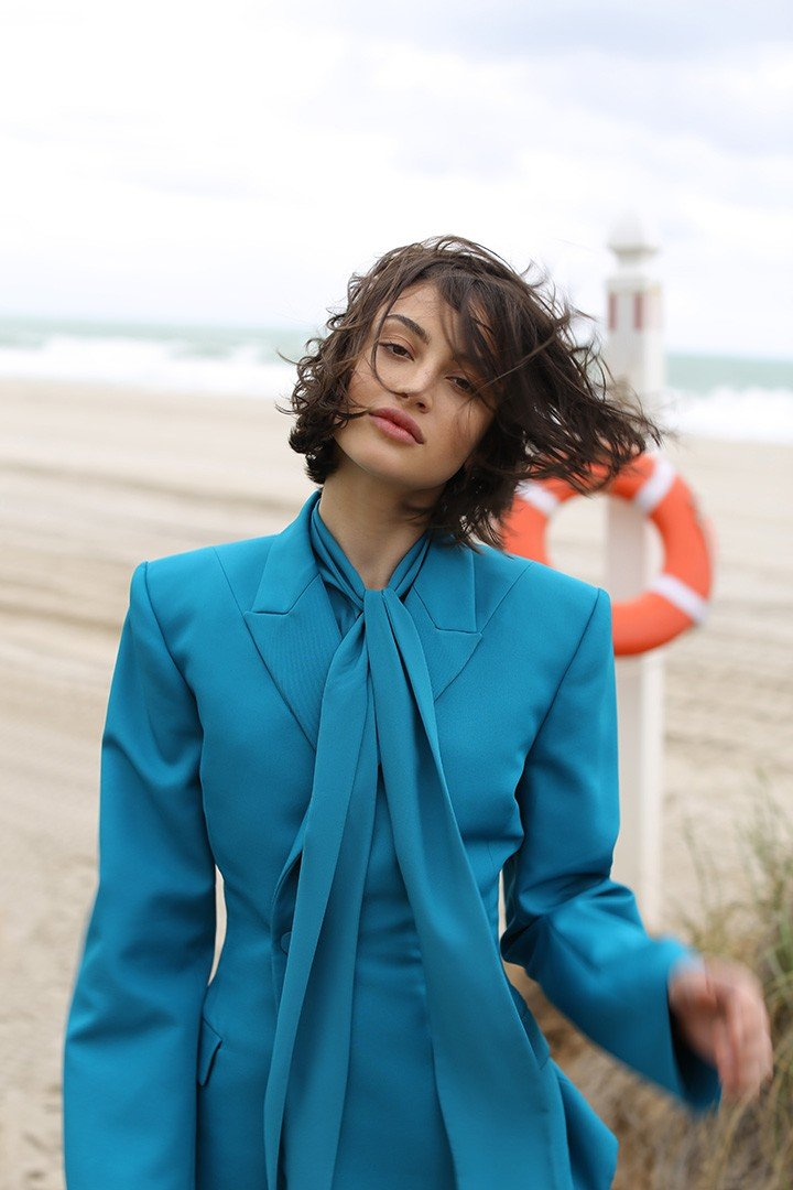 Balenciaga waisted blazer and silk chiffon blouse