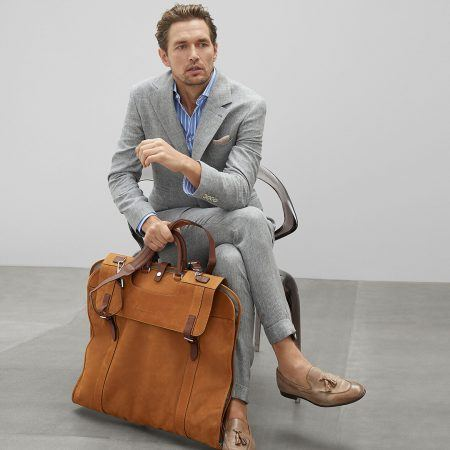 Brunetto Cucinelli Nubuck and buffalo leather garment bag