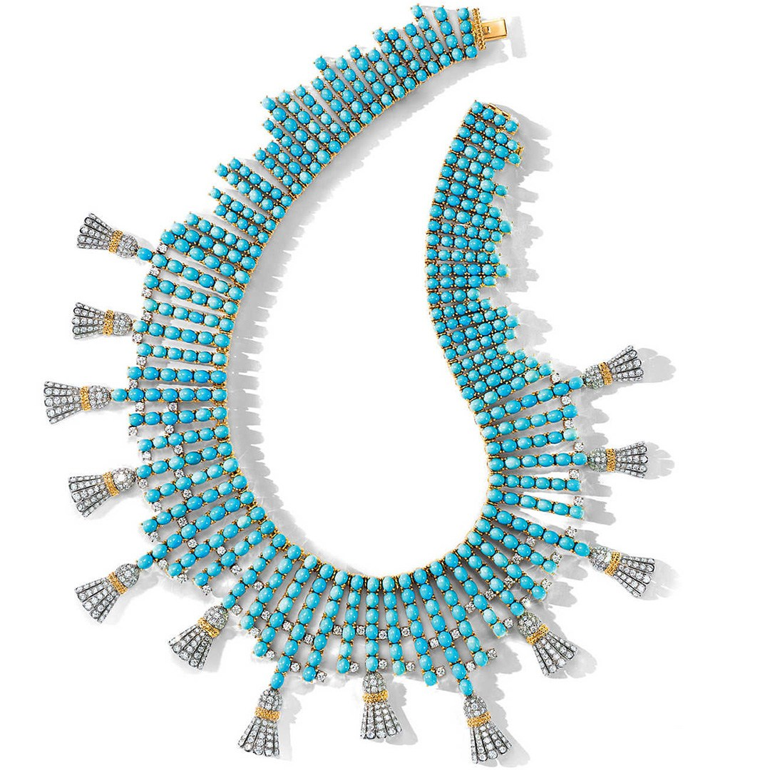 Turquoise Cabochons tassel necklace