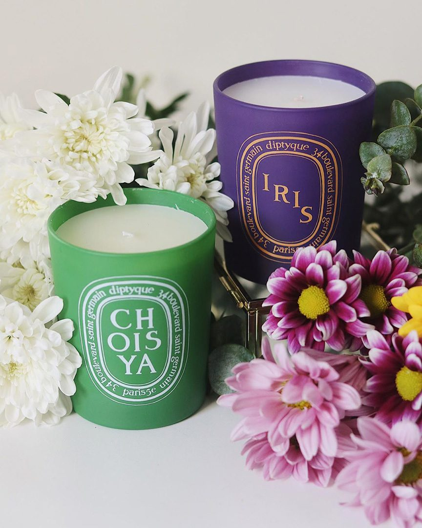 Purple and green Spring 2020 candles