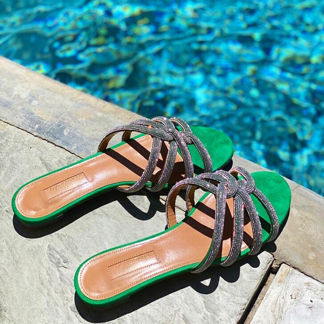 Green Aquazzura Slide