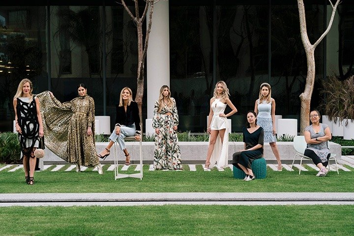 From left: Kathryn Mikesell, Tamar Tzubeli, Carla Nunez, Juliana Velez, Karen Huggins, Leilani Lynch, Vanessa Rose Tilley and Esther Park