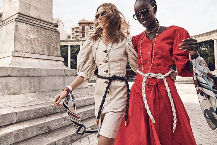 Tory Burch's Summer 2020 collection featuring the Cotton Puff-Sleeve Dress, top and cotton wrap skirt