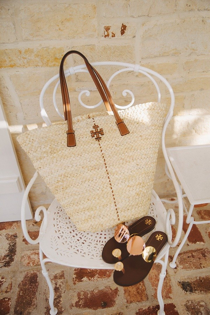 Tory Burch straw tote and multi-disk sandal