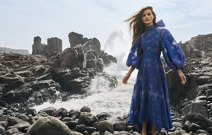 Zimmermann's SS20 Campaign featuring the blue Brightside Embroidered Gown