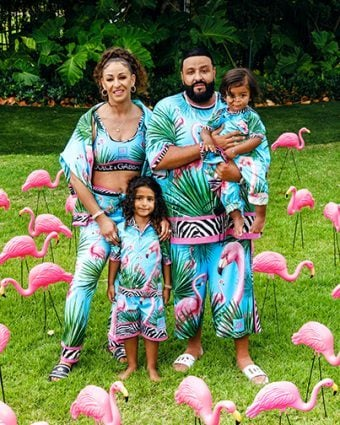 DJ Khaled and his family in flamingo print ready-to-wear from the Dolce & Gabbana X Khaled Khaled collection. Photo courtesy of Dolce & Gabbana.