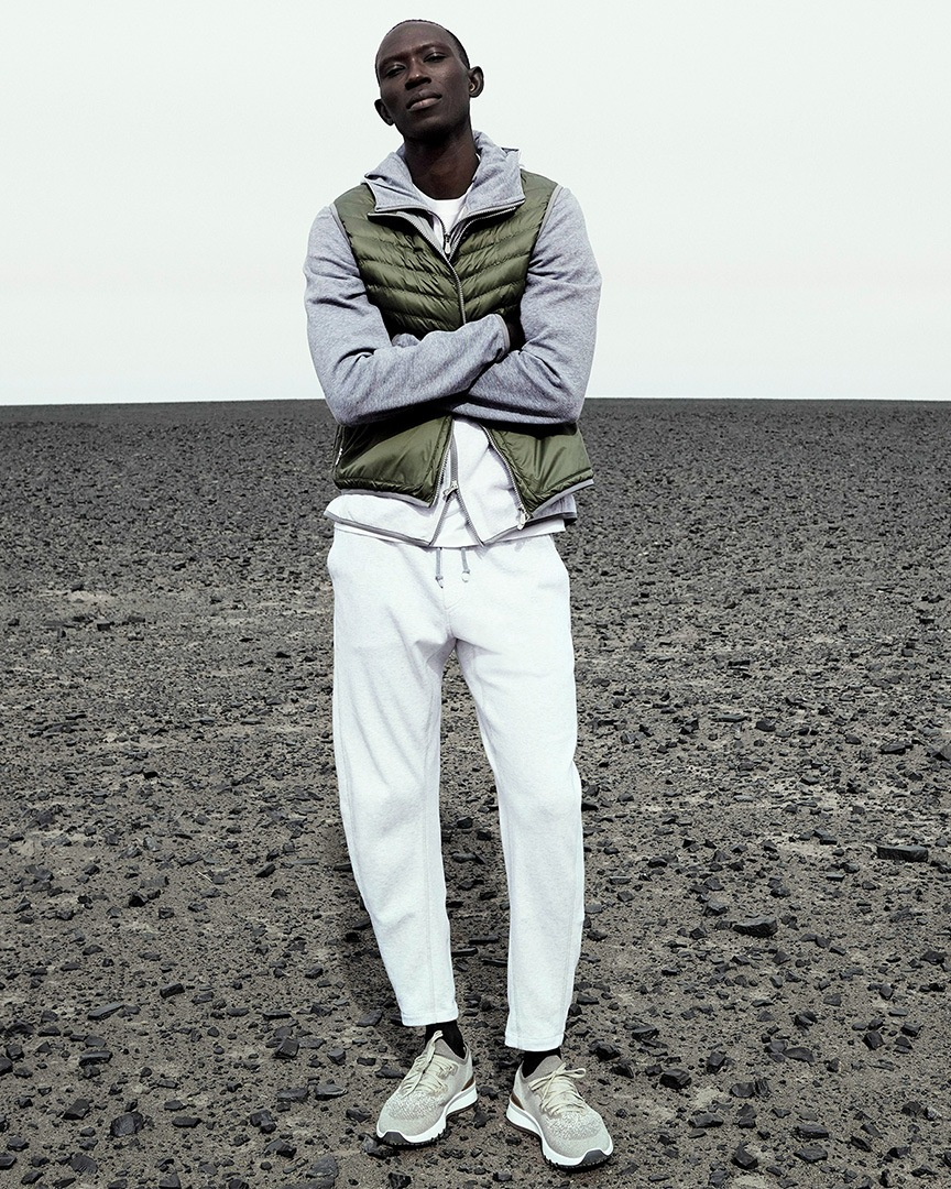 a casual look from Brunello Cucinelli's SS20 collection