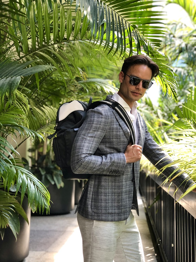 Canali suit, pants, sunglasses and backpack