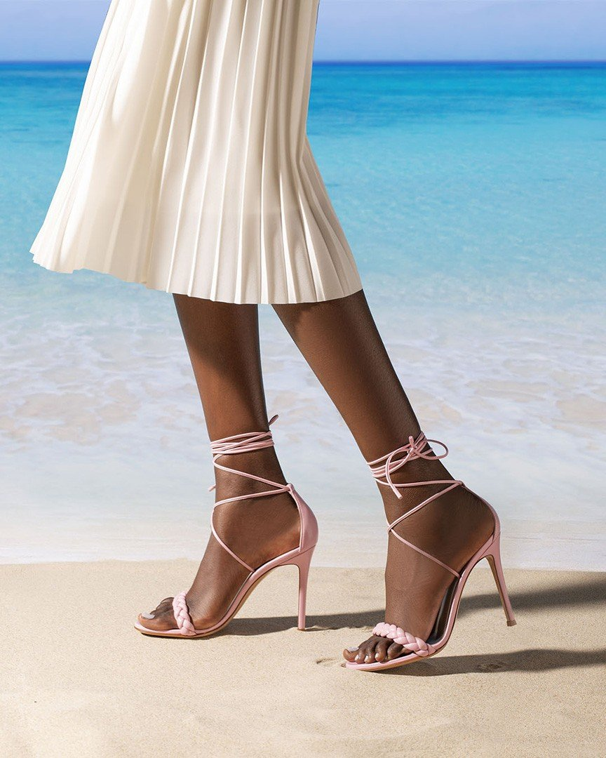 Gianvito Rossi Leoni braided lace-up sandal in soft pink
