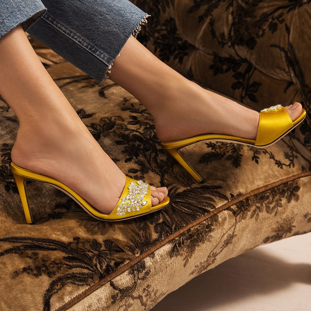 Jimmy Choo Stacey 85mm Satin and Crystal Slide sandals in yellow