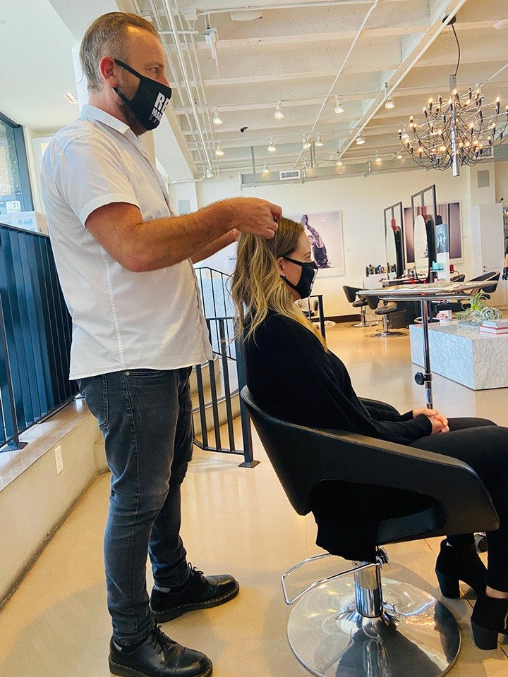 Owner and Stylist Jean Marc Durante (and the whole Red Market team) ensures that all safety precautions are met for each client that steps into the salon.