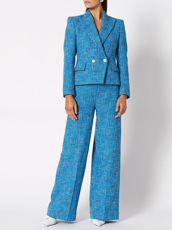 The Tweed Jacket/Pant Azure is the epitome of a classic silhouette, elevated with premium Italian tweed