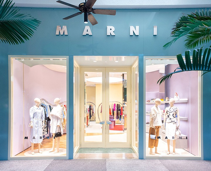 Outside the newly opened Marni Bal Harbour boutique