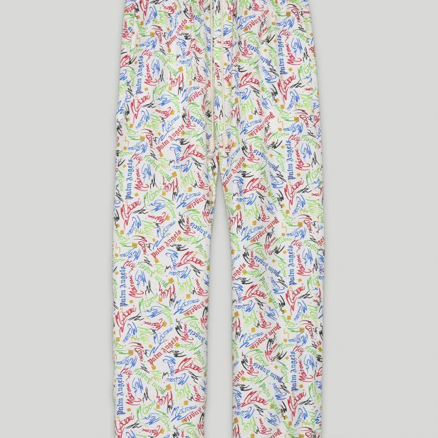 Missoni pants in white with multicolor logo pattern