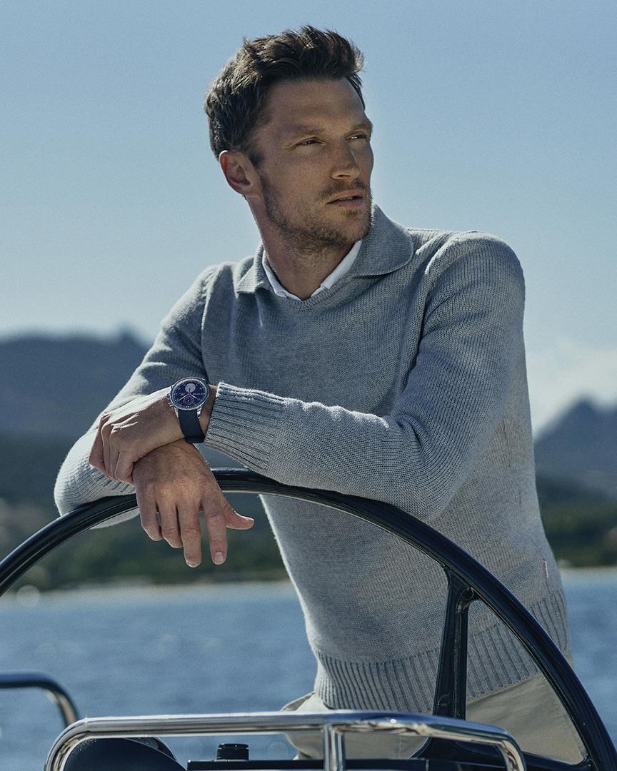 Orlebar Brown x IWC Driftwood Grey Merino Jumper and The IWC Portugieser Yacht Club Chronograph Orlebar Brown Edition