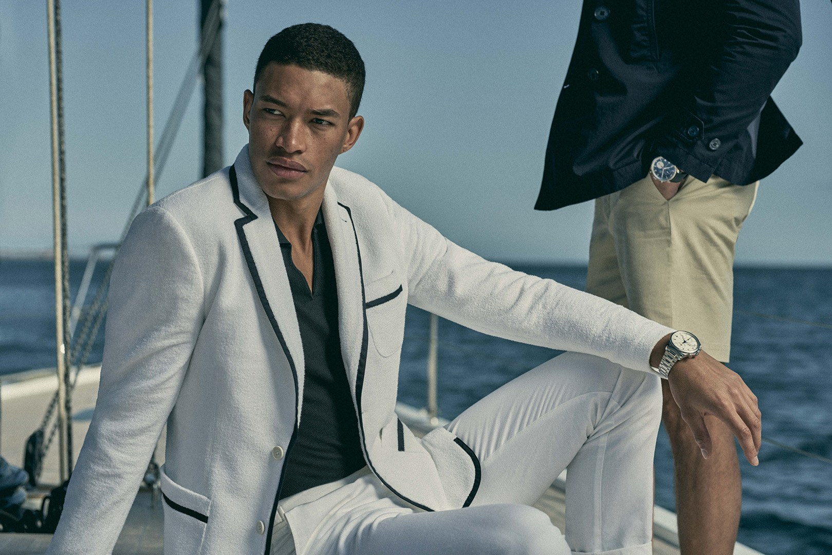 A white toweling blazer with blue piping from the new Orlebar Brown x IWC capsule collection