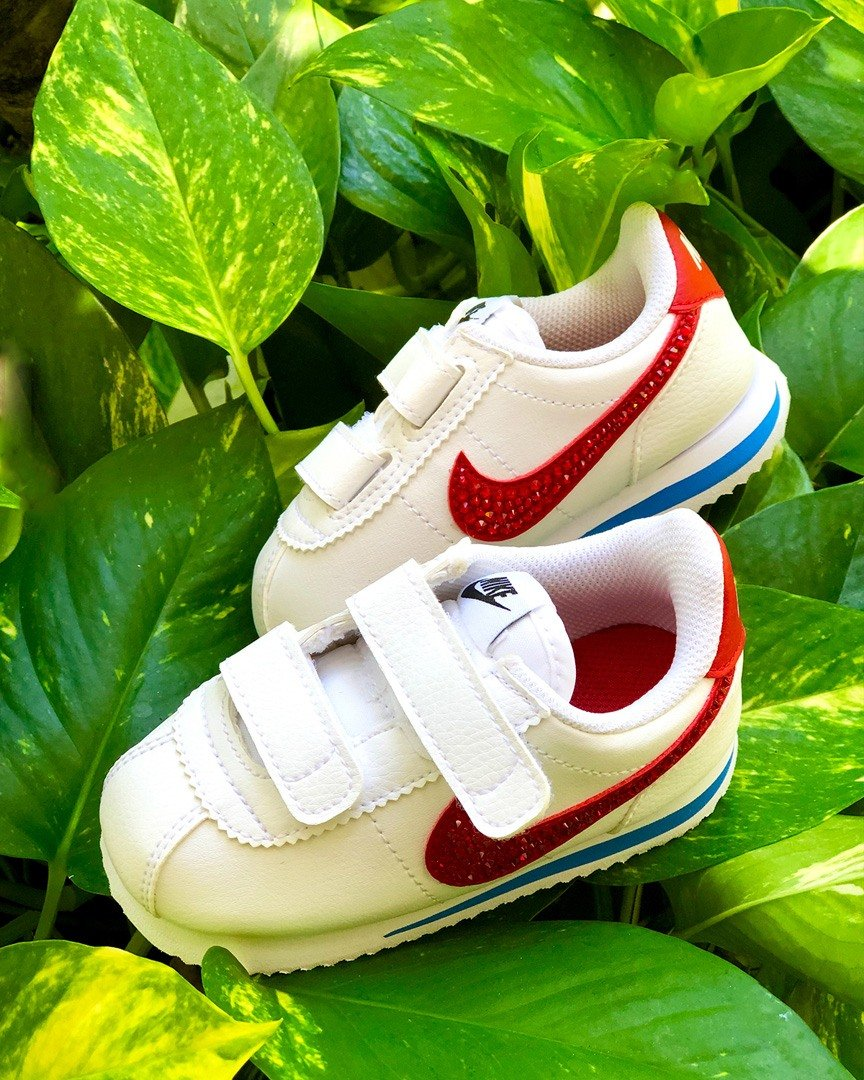 Nike Cortez kids sneaker customized with Swarovski crystals by Addict Bal Harbour