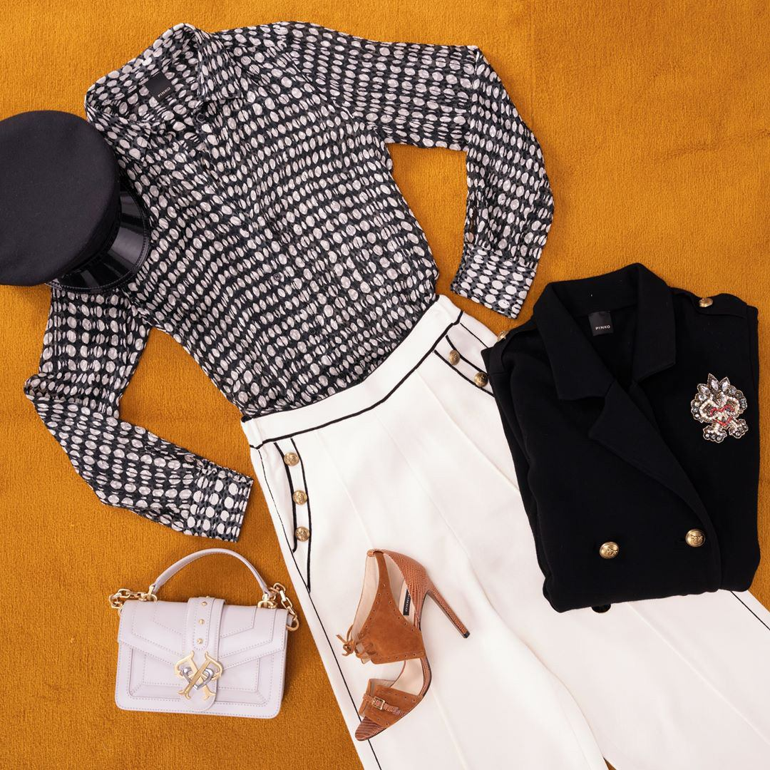 Sailor Culottes, Pea Coat with Patch Brooch, Love Bag & Suede Sandals