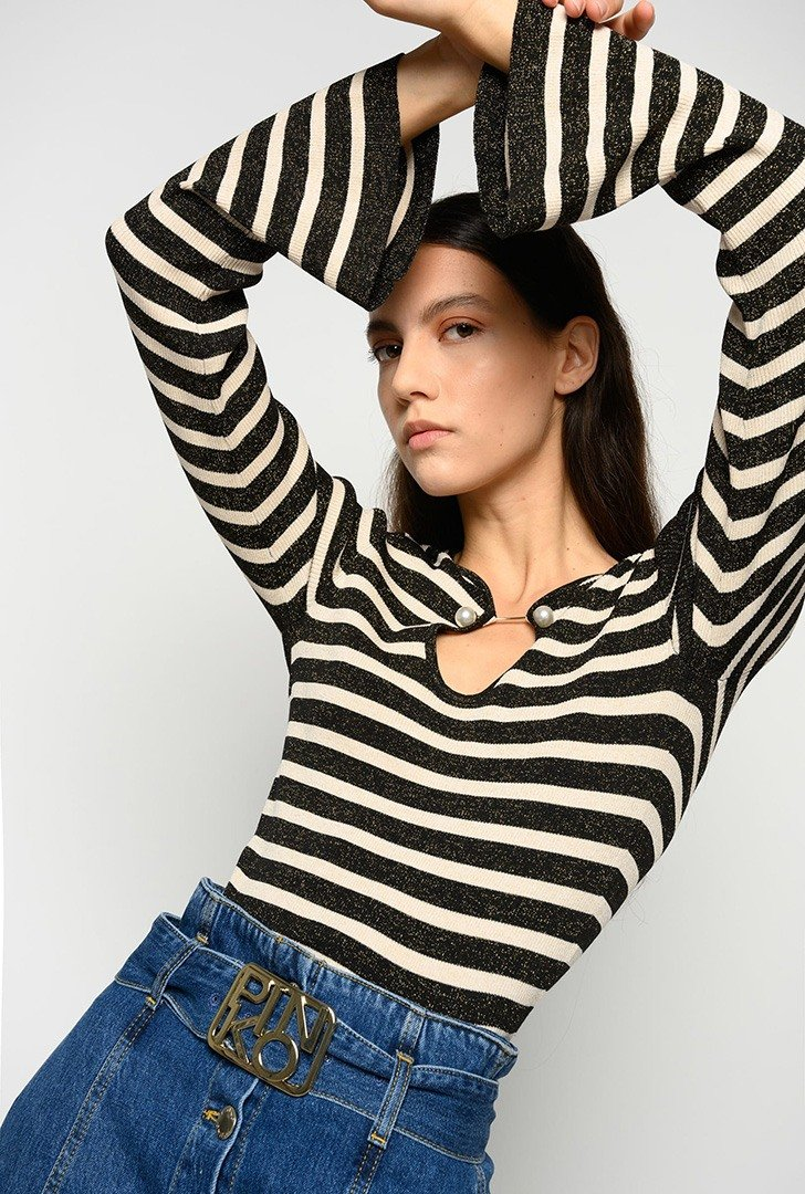 Striped Top with Pearls