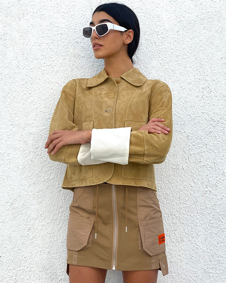 Loewe Button Jacket in Suede and Heron Preston Cargo Mini Skirt from The Webster