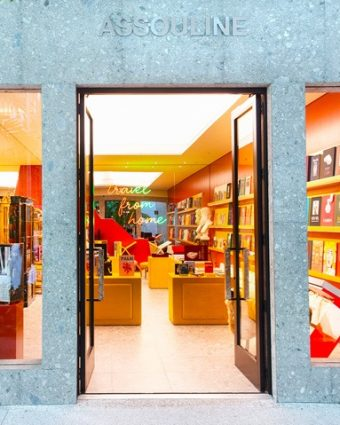 Outside the newly opened Assouline Bal Harbour pop-up boutique, photographed by World Red Eye.