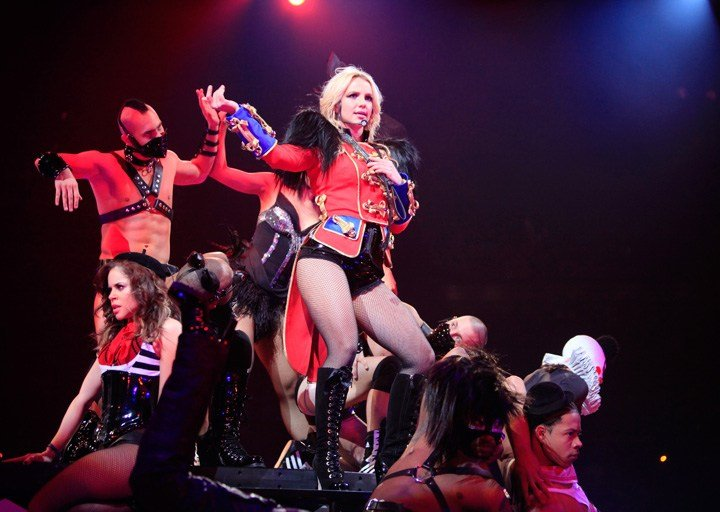 An iconic Dsquared2 custom design for Britney Spears during her Circus Tour in 2009.