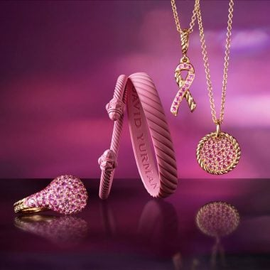Cable Collectibles Ribbon Bracelet, Cable Bracelet in pink rubber, Necklace in rose gold with pink sapphires, Pavé Pinky Ring and Pendant Disk Necklace (100% of net profits donated to BCRF)