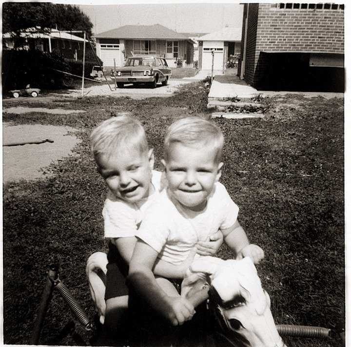 Dean and Dan Caten childhood photo taken in Canada circa late 1960's.