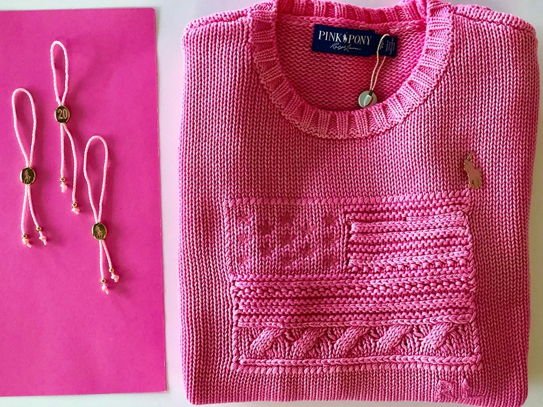 Ralph Lauren Pink Pony Sweater and bracelets (Percentage of sales will be donated to the Pink Pony Fund or to an international network of cancer charities)