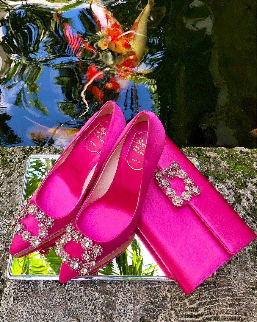 Roger Vivier Pink Flower Strass Pumps (Percentage of sales will be donated to BCRF)