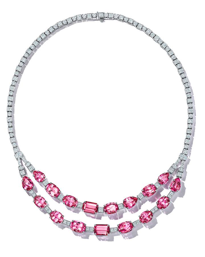 Extraordinary diamond chains of over 14 total carats provide a striking contrast to vivid mixed-cut pink tourmalines of over 50 total carats in this platinum necklace from the Extraordinary Tiffany 2020 High Jewelry Collection.