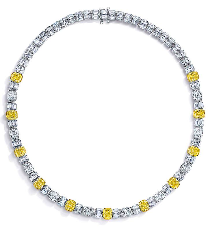 Necklace in platinum and 18k yellow gold with Fancy Intense Yellow diamonds and white diamonds from the Extraordinary Tiffany 2020 High Jewelry Collection.