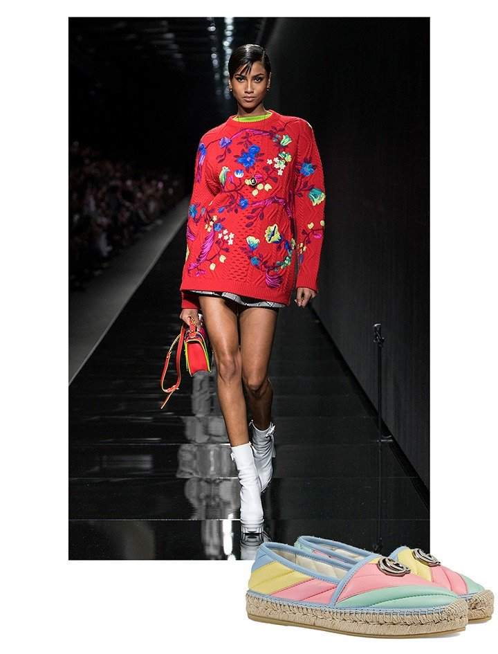 A runway look from Versace and Gucci espadrilles.