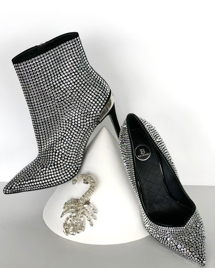 Balmain Crystal-Embellished Ankle Boots, Crystal-Embellished Pumps and Scorpion Earring