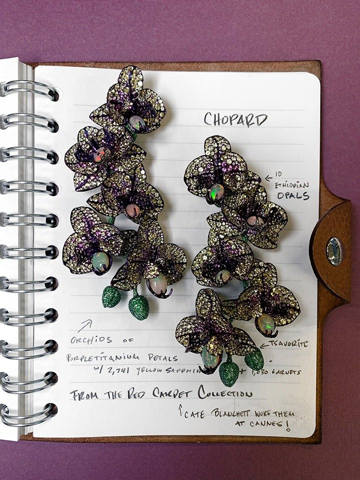 Chopard Orchid Earrings from the Red Carpet Collection.