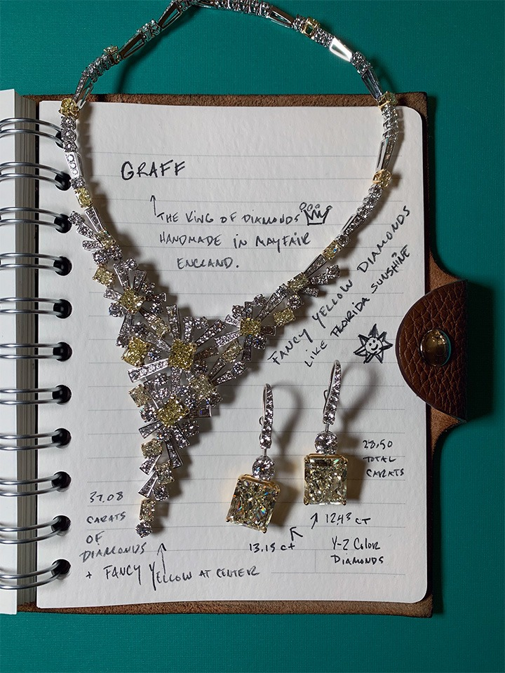 Graff's diamond and fancy yellow diamond necklace and diamond earrings.