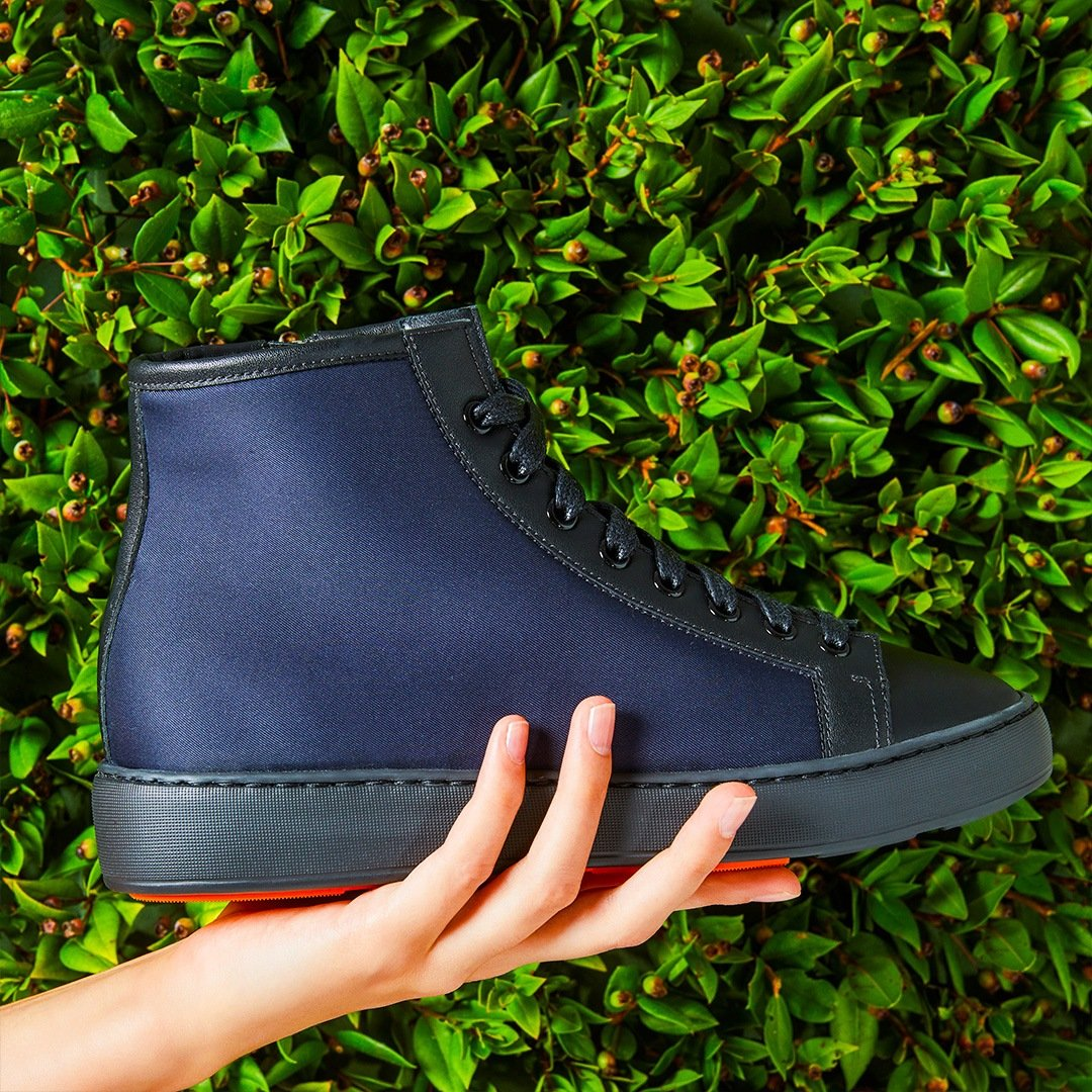 Santoni high sneakers in eco-friendly material, part of the Santoni Rethink Project.