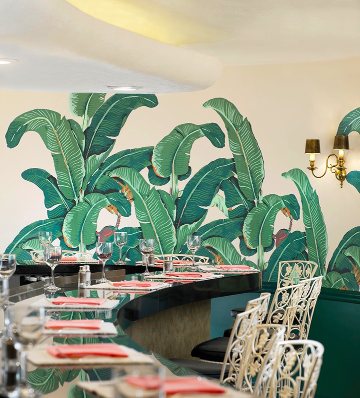 The famous Fountain Coffee Room at the Beverly Hills Hotel, boasting the original banana leaf print wallpaper designed by Albert Stockdale in 1942.