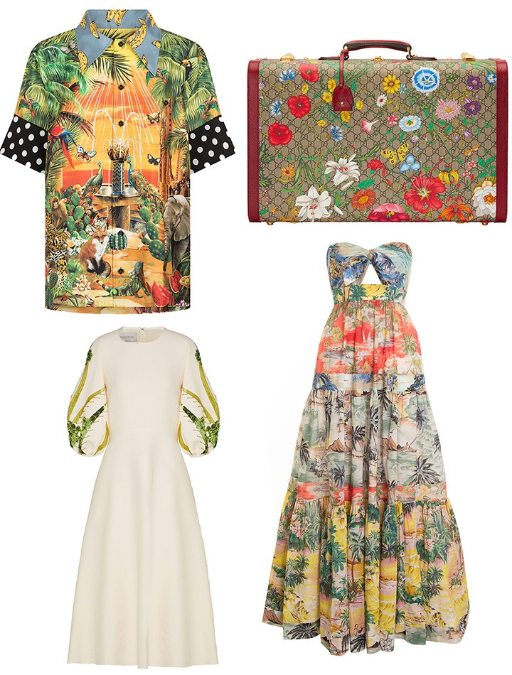 Clockwise from top left: Dolce & Gabbana weaves their Italian heritage into their own take on flora, in a range of looks for men and women; a suitcase from Gucci's GG Flora collection; Zimmermann channels a retro Hawaiian palm tree motif with their tie-front Juliette dress; Valentino dresses up a white gown with sequined fronds on its sleeves.